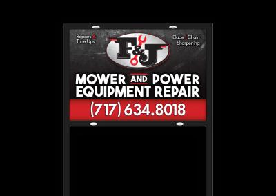 F&J Mower and Power Equipment Repair Yard Sign