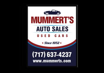 Mummerts Auto Sales Hanging Sign
